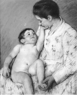 """A Carress,"" by Mary Cassatt"