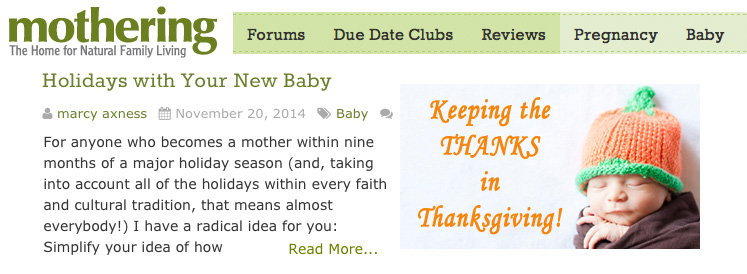 Holidays With Your New Baby | Marcy Axness, PhD at mothering.com