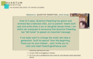 Announcement of ParentingForPeace.com